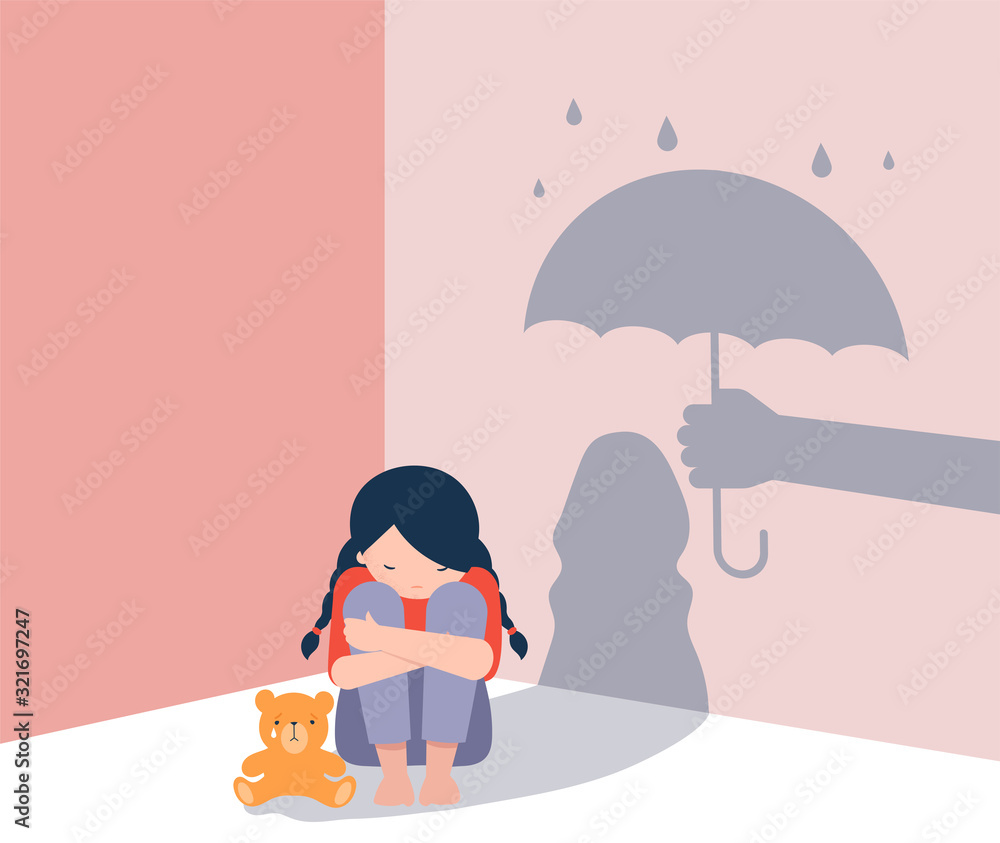 Fototapeta Sad little girl with teddy bear sitting on floor, shadow on the wall is a hand with umbrella protects her. Child abuse, violence against children concept design.