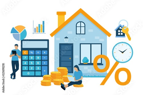 Fototapeta Mortgage concept. House loan or money investment to real estate. Property money investment contract. Family Buying Home. Man calculates home mortgage rate. Vector illustration with characters. obraz