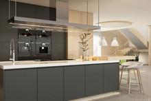 Modern Kitchen Interior In Bla...