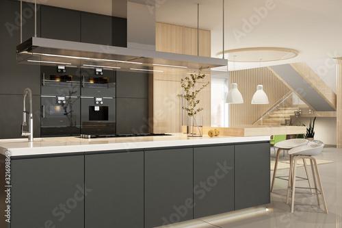 Fototapeta Modern kitchen interior in black colors obraz