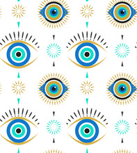 Evil Eyes Seamless Pattern. Co...