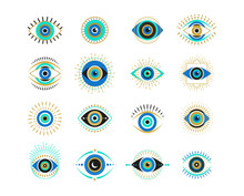 Evil Eyes Collection. Contemporary Modern, Trendy Vector Illustrations, Home Decor Idea