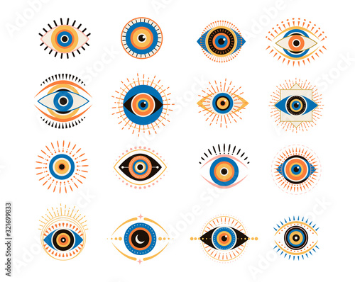 Evil eyes collection Fototapeta
