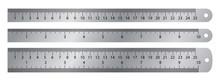 Realistic Metal Ruler. Vector ...