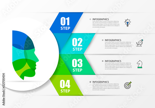 Photographie Infographic design template. Creative concept with 4 steps