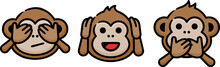 Three Wise Monkeys Doodle Sketch Icon