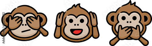 Three Wise Monkeys Hand Drawn Icon Wallpaper Mural