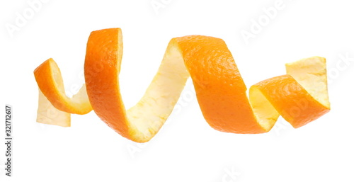 Cuadros en Lienzo Orange peel isolated on white background, with clipping path