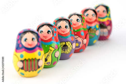 traditional russian souvenir matryoshka, six babushka doll in a row Wallpaper Mural