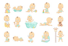 Adorable Happy Baby And His Daily Routine. Care About Infant Baby. Set Of Baby Characters.