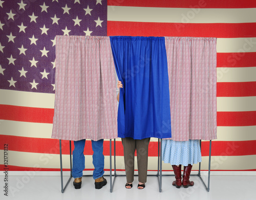 Three Voting booths in front of a large American Flag Tablou Canvas