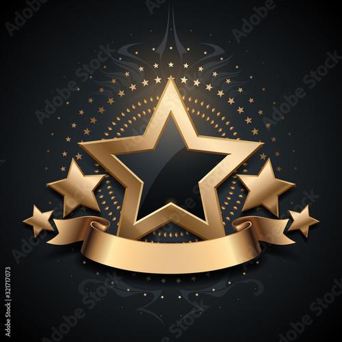 Obraz Gold luxury star on black background - fototapety do salonu
