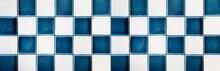 Old Blue White Checkered Square Tiles Vintage