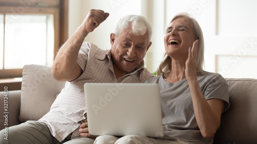 Obraz na plátně Overjoyed senior couple triumph with online news on laptop