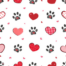 Black Doodle Paw Print With Re...
