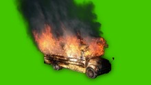 The Yellow Bus Is On Fire-close-up With Thick Black Smoke In Front Of Green Screen.