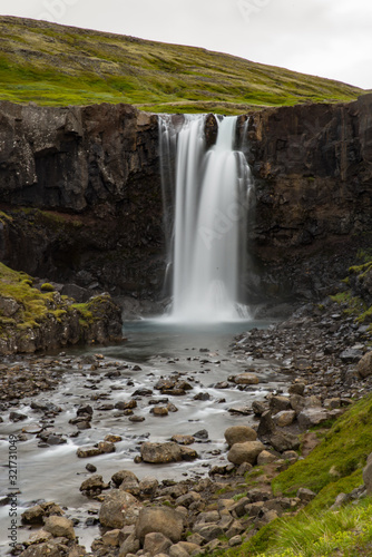 Waterfall Scene from the Westfyords in Iceland