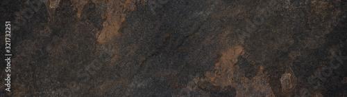 Obraz Black brown rusty stone slate tiles texture background banner panorama - fototapety do salonu