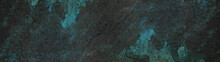 Anthracite  Turquoise Aquamarine Abstract Stone Slate Tiles Background Banner Panorama