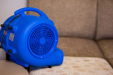Professional Drying Of A Sofa With A Hairdryer After Dry Cleaning At Home. Large Photo