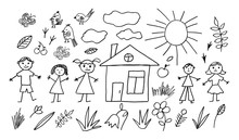 Set Of Hand Drawn Kids Summer Icons. Doodle Style. Vector Objects From A Child's Life.