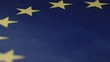 blue symbolic flag of European alliance with yellow small icons in stars patterns extreme close view