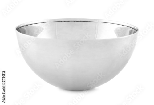 Empty clean metal bowl isolated on white