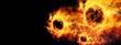 canvas print picture - 凄い速さで飛行する抽象的な火の玉