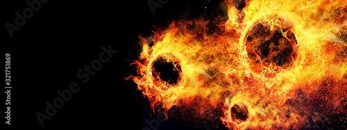 Valokuvatapetti 凄い速さで飛行する抽象的な火の玉