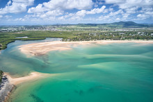 Mackay Region And Whitsundays Aerial Drone Image With Blue Water And Rivers Over Sand Banks