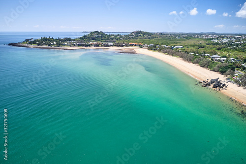 Mackay region and Whitsundays aerial drone image with blue water and rivers over Canvas Print
