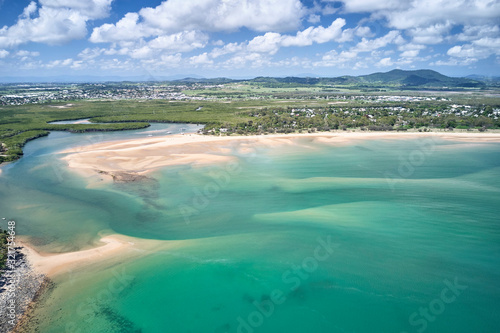 Photo Mackay region and Whitsundays aerial drone image with blue water and rivers over