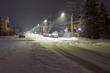 Snowy Street In Downtown Canmore, Alberta, Canada At Night