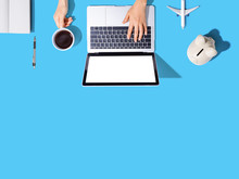 Flights Online Booking And Reservation Theme With Person Using A Laptop Computer