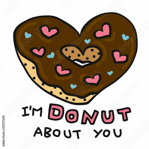 Fotografie, Obraz I'm donut about you, donut heart shape cartoon vector illustration