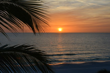 Sunset Over The Gulf Of Mexico As Seen From Tropical Longboat Key Florida