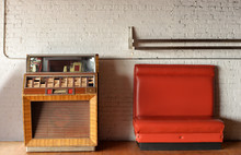 Vintage Jukebox And Bench Agai...