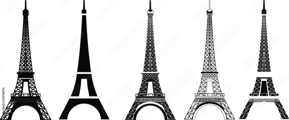 Fototapeta Silhouette and isolate Eiffel tower at Paris of France.