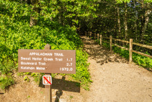 Appalachian Trail Sign In Great Smoky Mountains National Park, Tennessee