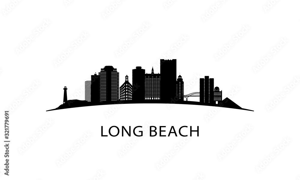 Fototapeta Long Beach city skyline. Black cityscape isolated on white background. Vector banner.