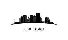 Long Beach City Skyline. Black...