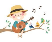 Kid Boy Spring Birds Sing Illu...