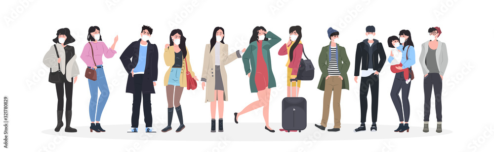 Fototapeta people wearing masks to prevent epidemic MERS-CoV wuhan coronavirus 2019-nCoV pandemic medical health risk men women group standing together full length horizontal vector illustration