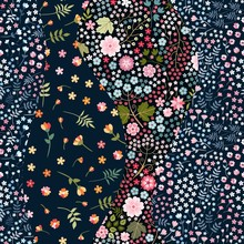 Patchwork Seamless Pattern. Wavy Design From Floral Patches. Beautiful Print For Fabric And Textile.