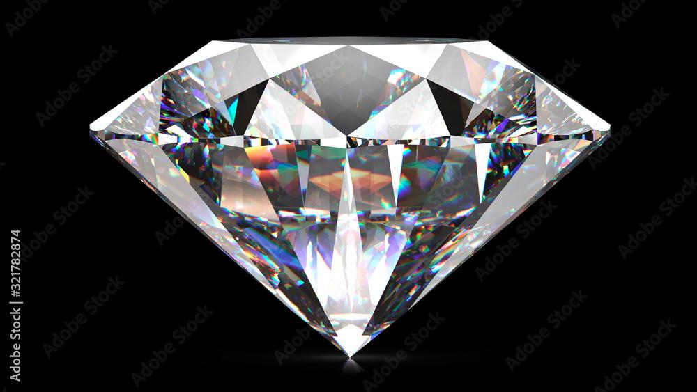 Fototapeta Sparkling light round brilliant cut diamond with shadow. 3D rendering illustration isolated on black background.