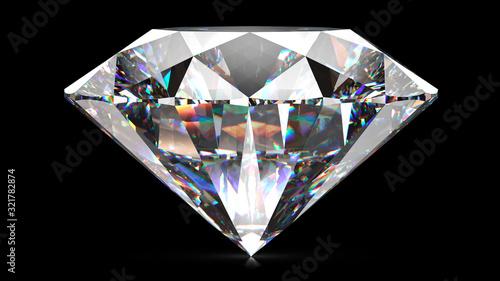 Obraz na plátně Sparkling light round brilliant cut diamond with shadow