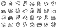 Cardiologist Icons Set. Outlin...