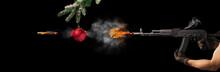 Freezing Shot Of A Gun And Chr...