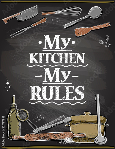 Stampa su Tela Quote card - my kitchen, my rules, vector lettering illustration on a chalkboard