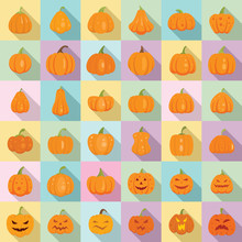 Pumpkin Icons Set. Flat Set Of...